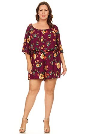 20f9df93b2f6 Amazon.com  Ambiance Apparel Plus Size Floral Print Romper  Clothing