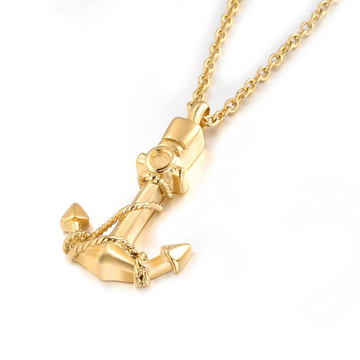 Cremation Urn Jewelry Anchor Necklace Ashes Keepsake Memorial Stainless Steel Pendant MCKN MCKN-A02