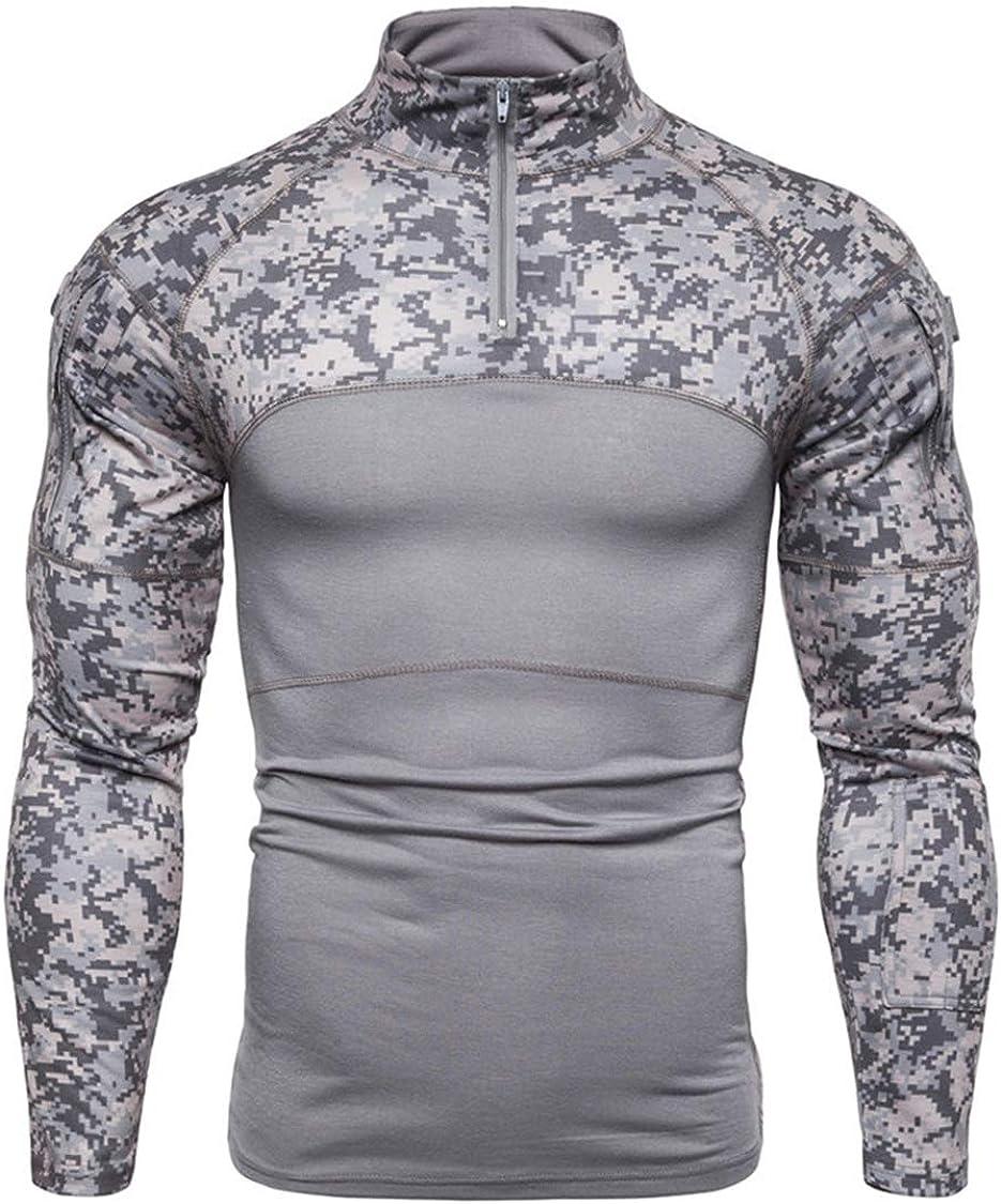 TS,RD.UG Mens Tactical Military Shirts Slim Fit Elastic Camo Combat Shirt