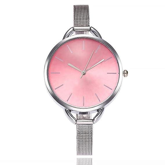 Yusealia Relojes Pulsera Mujer Despeje, Casual Reloj Banda de Acero Inoxidable Parejas Relojes para Negocio Relijes de Espejo de Vidrio de Alta Dureza: ...