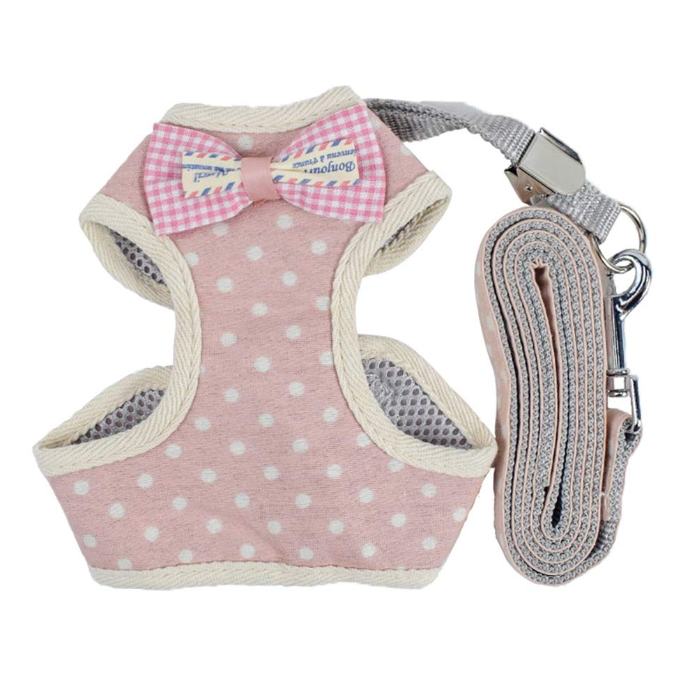Medium Pet Chest Strap Adjustable Nylon Straps, Dog Collar Dog Harness Lead Pet Vest Harness with Handle Adjustable Puppy Harness for Small Dog Cat Breathable Mesh Bow Pet Chest Strap,M