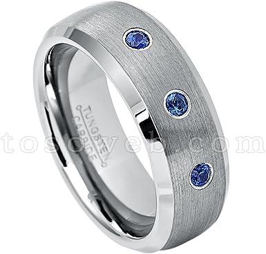 Men/'s Blue Sapphire Solitaire Wedding Band September Birthstone Ring 8mm 2-Tone High Polish Black IP Tungsten Carbide Ring TS1182