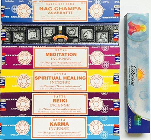 Satya Incense Gift Set Nag Champa Superhit Meditation Spiritual Healing Reiki Karma- Free Sample of Divine Incense ()