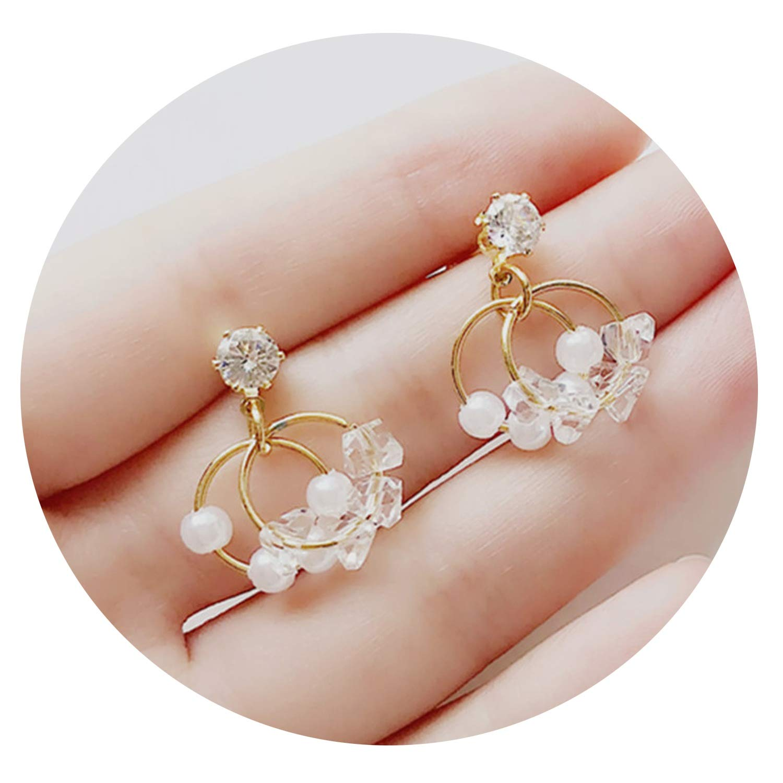 Fashion Round Crystal Earrings Pearl Earrings Circle Geometry Melting Crystal Circle Stud Earrings For Women