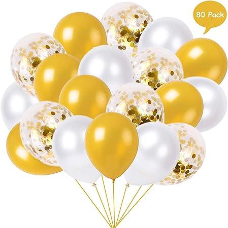 30 Pezzi 12 Pollici Palloncini in Lattice Palloncini di Coriandoli per Matrimonio Compleanno Festa Decorazione Argento e oro