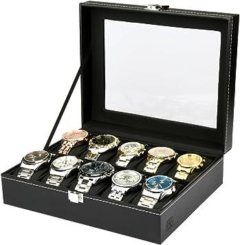 H&S® - Joyero expositor con tapa de cristal para 10 relojes o joyas - Estuche para guardar relojes o pulseras - Bandeja de piel sintética de color negro: Amazon.es: Bricolaje y herramientas