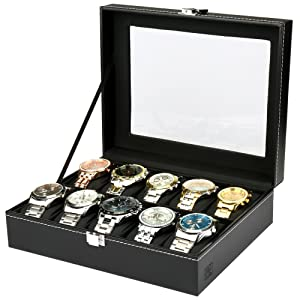 H&S¨ Glass Lid 10 Watch Jewellery Display Storage Box Case Bracelet Tray Faux Leather Black