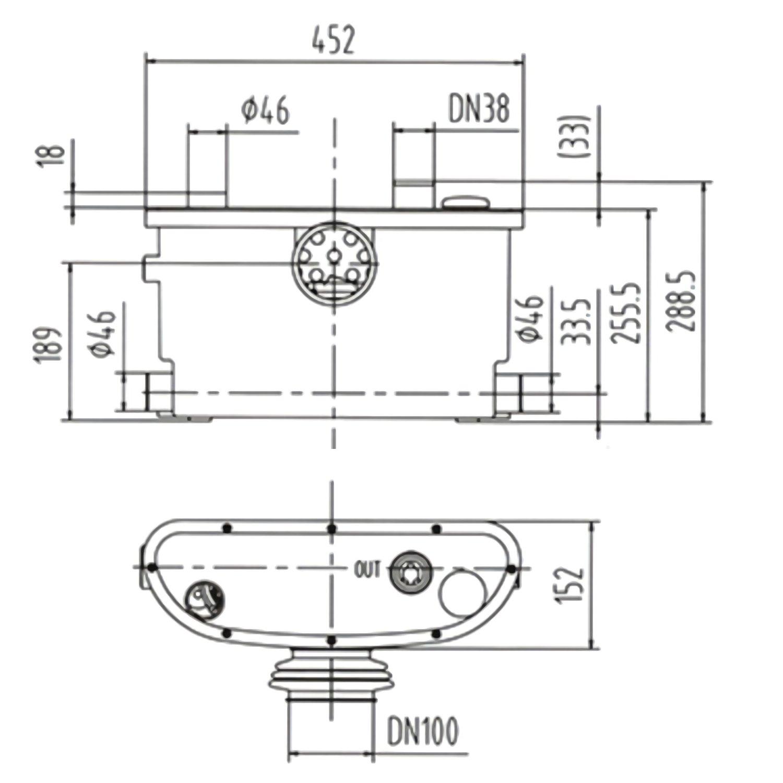 Toilet Macerating Pump,Kitchen Waste Water Disposal Pump,Reamer crush Function,Automatic start stop,AC 110V 400W High Power Saving Function Toilet Macerator Pump White INTELFLO