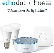 Echo Dot + Philips Hue Smart Bulb Kit - White
