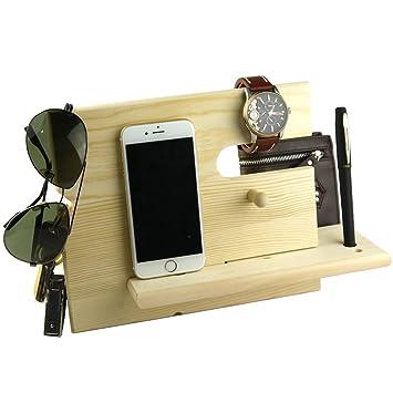 Organizador de madera de Lemo, para teléfono, llaves, bolígrafo, cartera y reloj, regalo para hombre, YYHD12: Amazon.es: Hogar