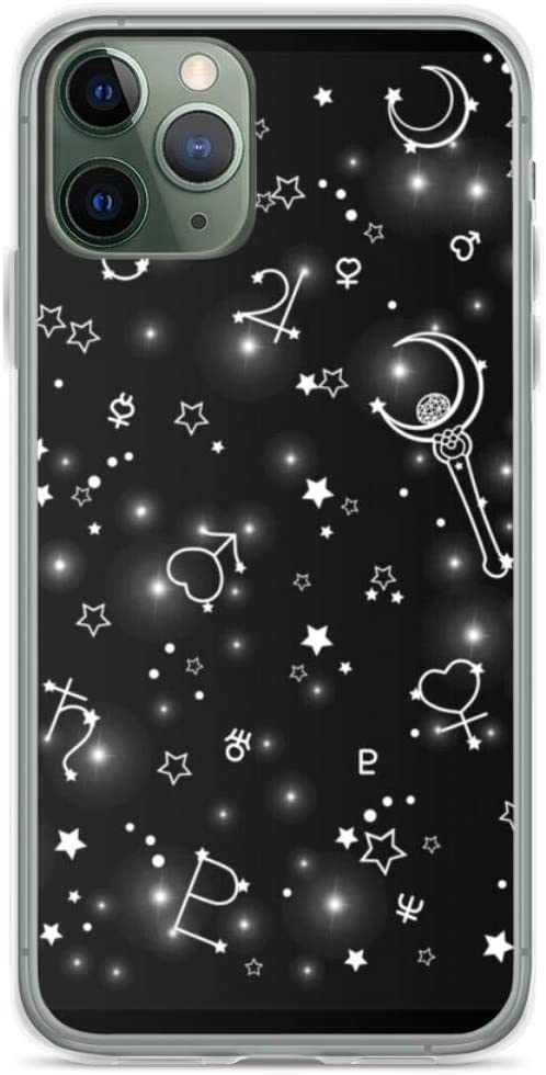 Sailor-Moon Stars Black and White Phone Case Compatible with iPhone 12 11 X Xs Xr 8 7 6 6s Plus Pro Max Samsung Galaxy Note S9 S10 S20 Ultra Plus