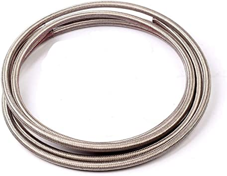 1Foot Silver AN12 Nylon And Stainless Steel Braided Fuel Oil Gas Line Hose-12AN