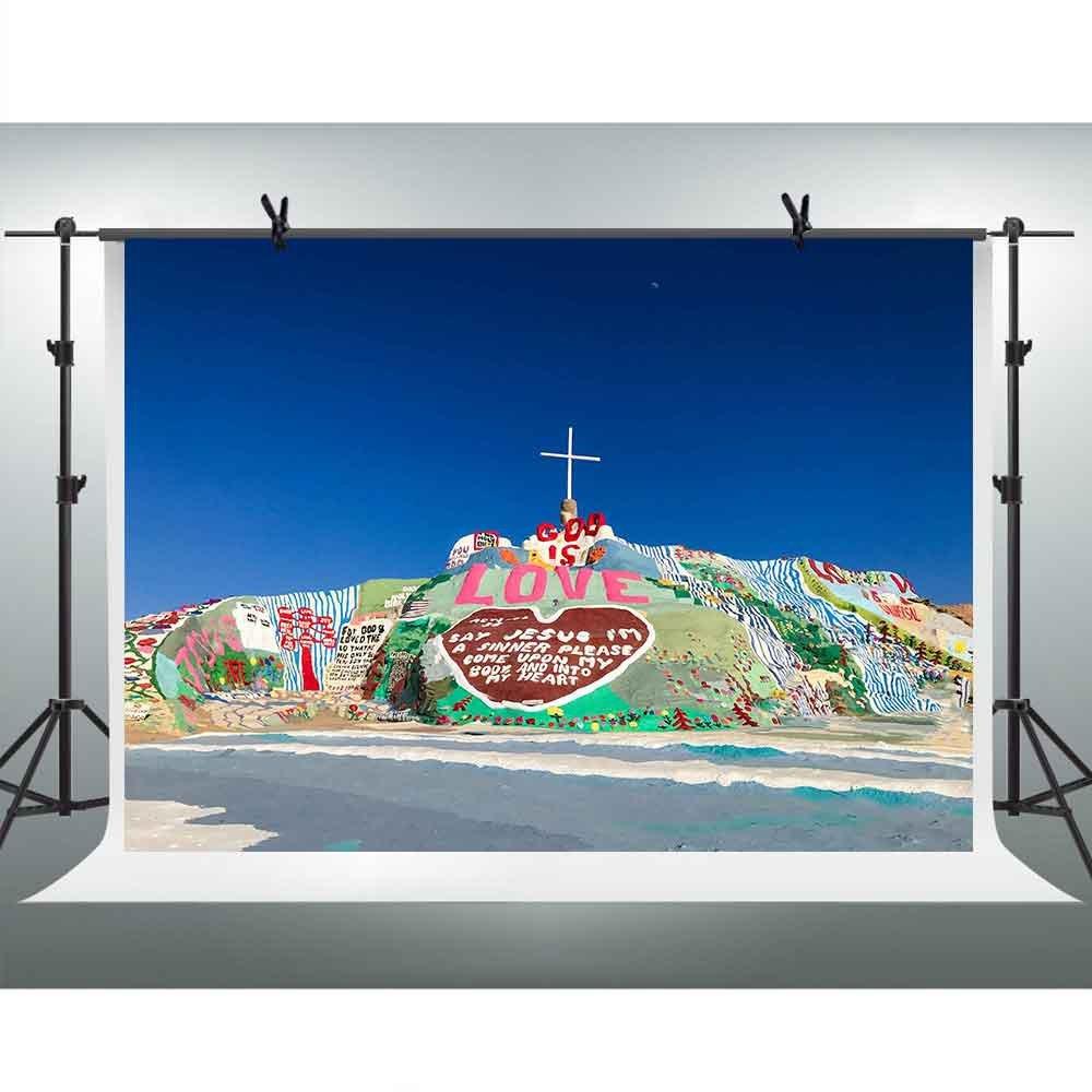 FHZON 7x5フィート カラフル カリフォルニア リデンプション ヒル 背景幕 写真撮影用 イエスキリスト 十字架 テーマ パーティー YouTube背景 写真ブース スタジオ小道具 GEFH290   B07F9JN7WR
