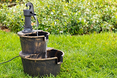 Alpine Corporation TIZ194BZ Alpine 2-Tier Rustic Pump Barrel Waterfall for Garden, Patio, Deck, Porch-Yard Art Decor Outdoor Water Fountain, Gray - BARREL FOUNTAIN: Garden water fountain is the perfect addition to your outdoor decor. Interior pump keeps the water flowing - just plug it in! RELAXING WATER FLOW: Water trickles from the pump spout into the barrel tiers, adding peaceful ambiance to your outdoor setting RUSTIC LOOK: Realistic faux wood barrels and pump head design for an old-fashioned western feel - patio, outdoor-decor, fountains - 61jGAv4HQpL -