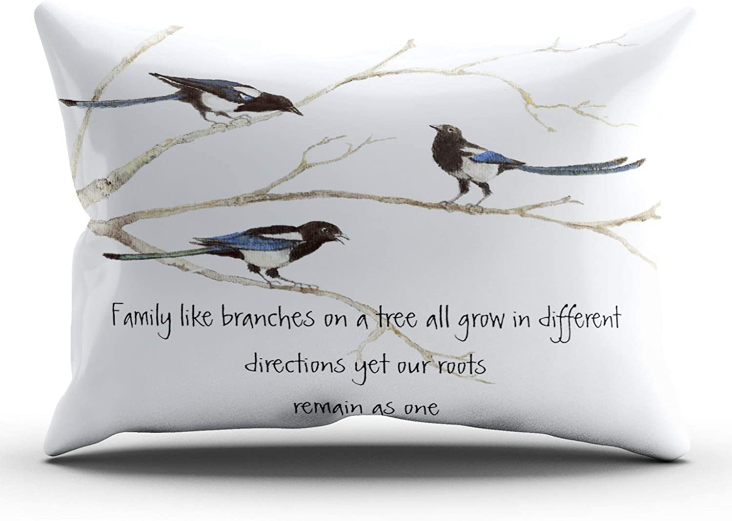 Amazon Com Xiuba Pillowcases Ivory And Blue Watercolor Magpie Family Quote Animal Nature Customizable Decorative Rectangle 12x24 Inch Lumbar Size Throw Pillow Case Hidden Zipper Double Sided Design Printed Home Kitchen