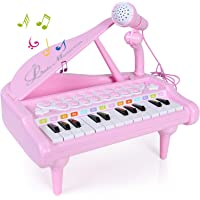SGILE Piano Juguete con Mic para Niños Regalo, Instrumento Educativo 24 Teclas Teclado Electrónico Juego de Juguete Musical Micrófono, Cantando Desarrollo Musical, Enlace de Audio Móvil MP3 iPad PC