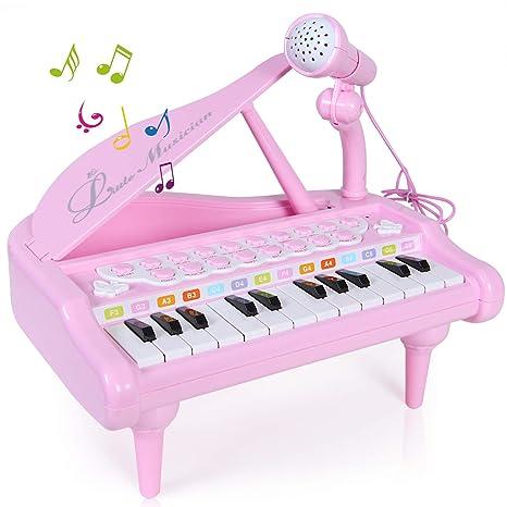 SGILE Piano Juguete con Mic para Niños Regalo, Instrumento Educativo 24 Teclas Teclado Electrónico Juego