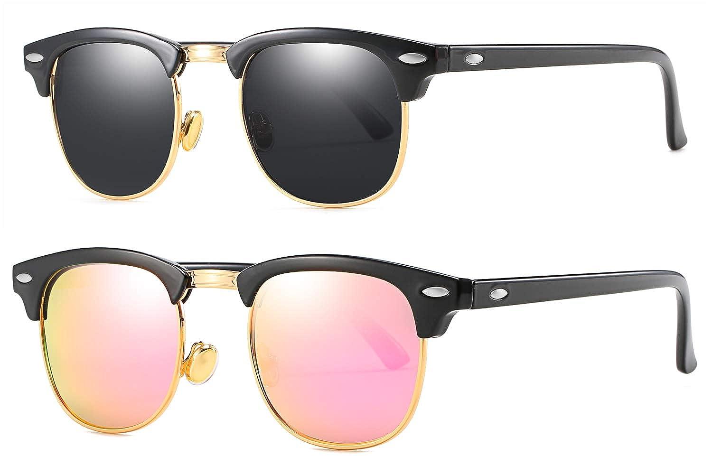 MAOLEN Semi Rimless Polarized Clubmaster Sunglasses Women Men with Metal Rivets