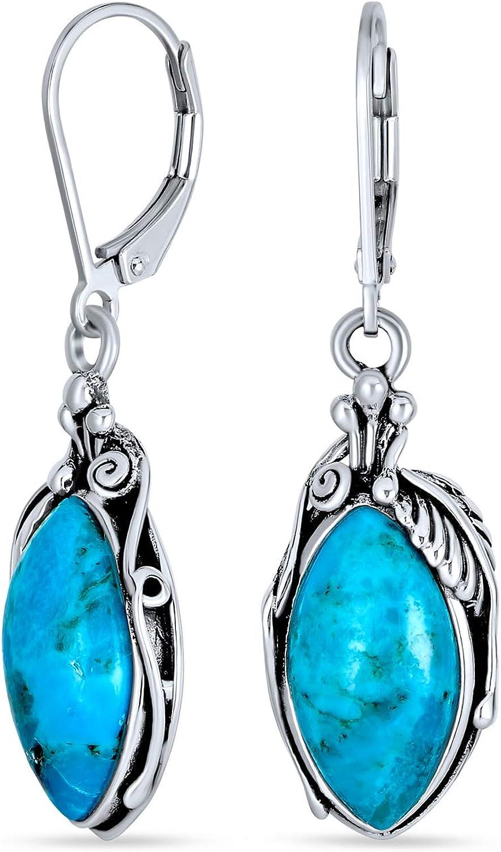 Turquoise Flat Beads Gold Alloy Ear Wire Bronze Glitter Dangle Earrings