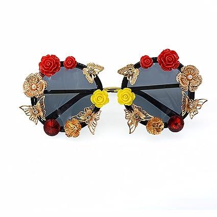 Godbb Tonos de Moda Mariposa roja y Amarilla Rosa Hecha a Mano Flor de Metal Gafas ...