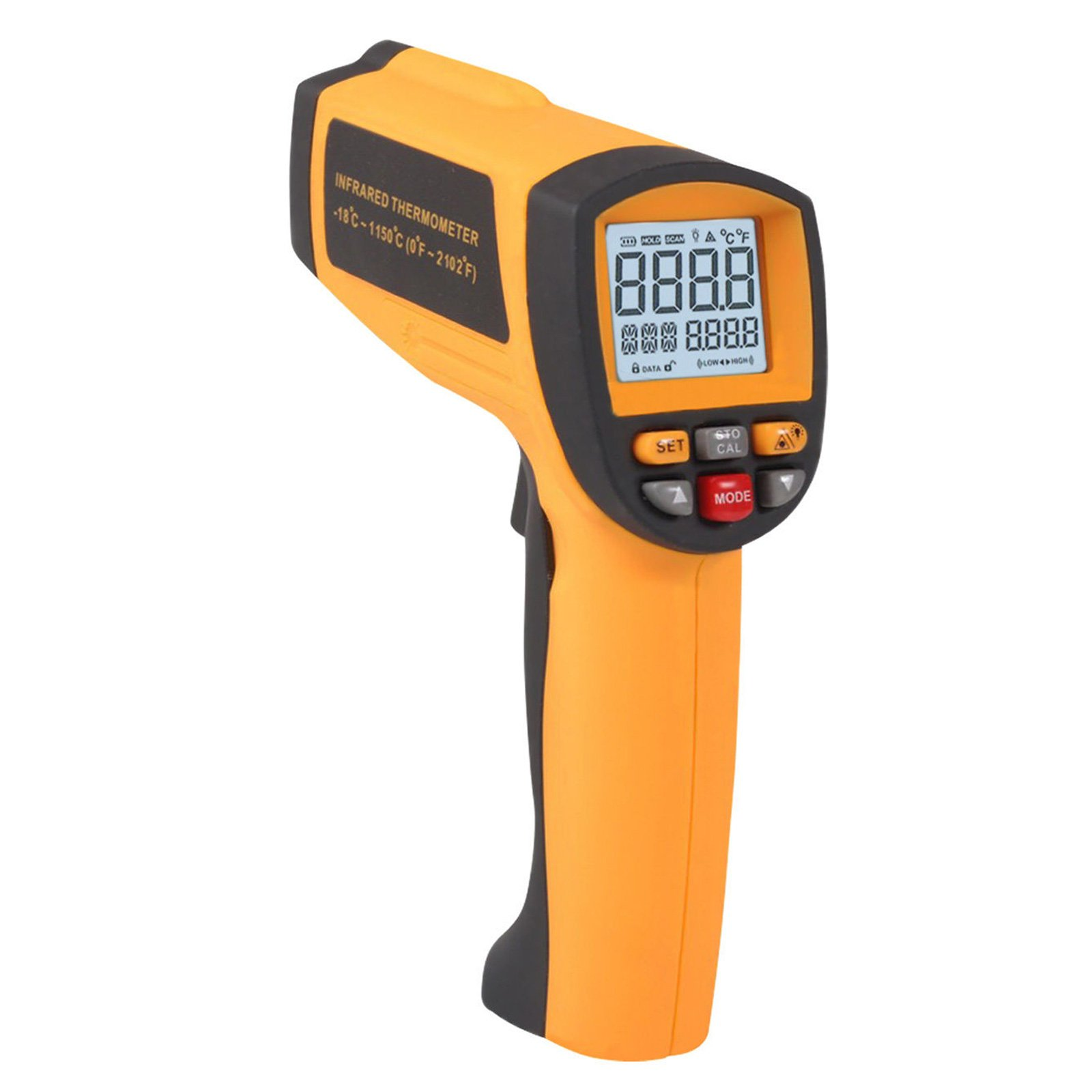 Digital Infrared IR Thermometer with 50 Is To 1 Distance Spot Ratio and -18 To 1150 Degree C or 0 To 2102 Degree F