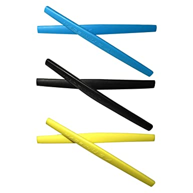 HKUCO Blue/Black Replacement Silicone Leg Set For Oakley Square Wire 2.0 Sunglasses Earsocks Rubber Kit