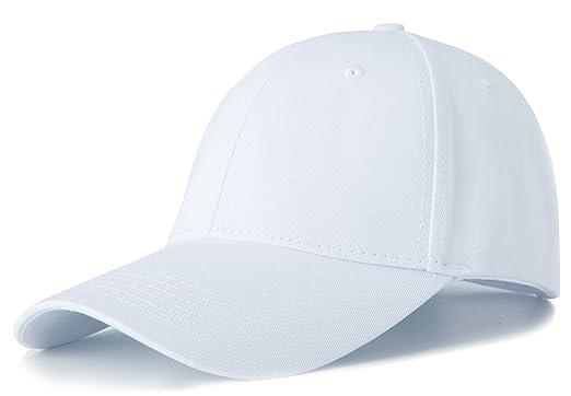 f9572df1fc6 Amazon.com  Edoneery Men Women Cotton Adjustable Washed Twill Low Profile  Plain Baseball Cap Hat(White)  Clothing