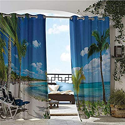 Balcony Curtains, Beach Seashore with Palm Trees Sand Waves Holiday Relaxing Photo, Outdoor Patio Curtains Waterproof with Grommets Cream Blue Turquoise Green