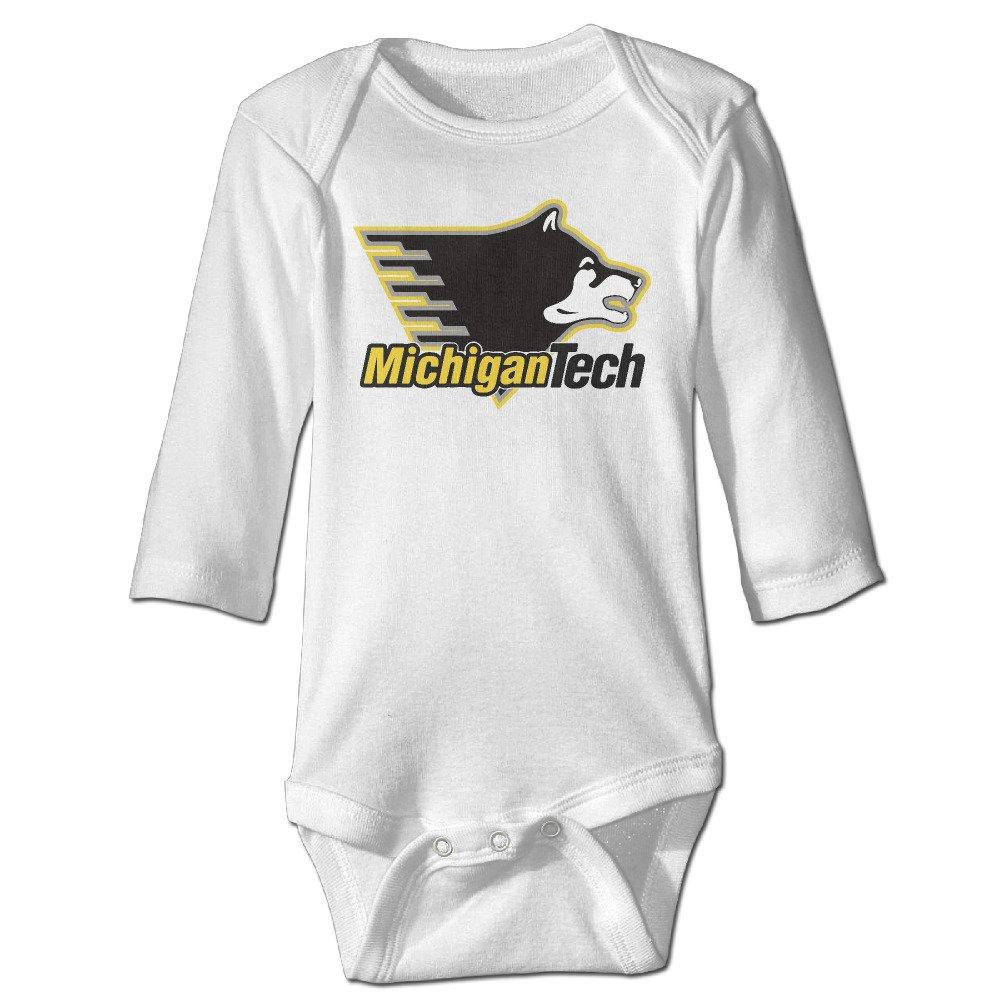 Baby Boys Girls Michigan Tech Huskies Logo Long-sleeve Romper Jumpsuit