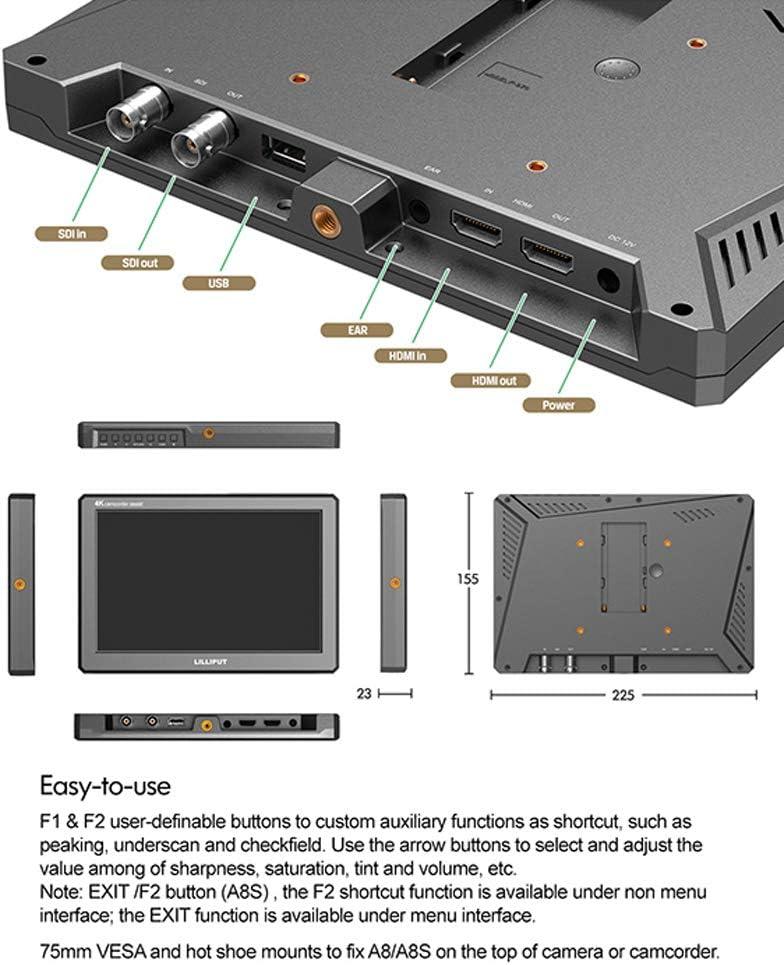 LILLIPUT A8S 8.9 Inch 350nits Mini HDMI Monitor 3D-LUT Camera Field Monitor 4K HDMI 1920X1200 SDI DSLR on-top Camera