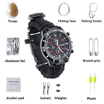 Reloj de supervivencia reloj de pulsera 16 en 1 pulsera universal Paracord con para acampar al aire libre senderismo aventura de montañismo: Amazon.es: ...
