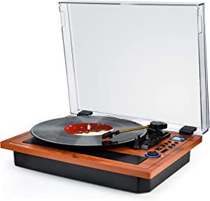 Turntable Vinyl Record Player Support Wireless in & Out Record Player Built in Stereo Speakers Turntable with Vinyl Records 3 Speed Turntable Player Support Vinyl-to-MP3 Recording
