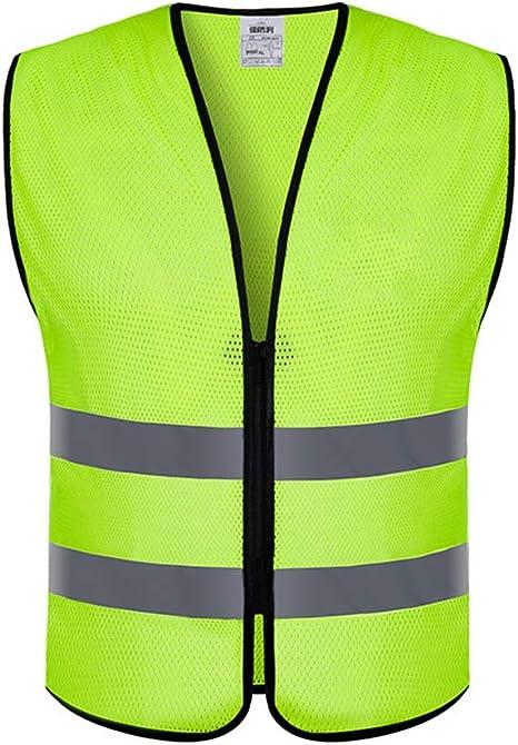 LIOOBO Chaleco Reflectante de Alta Visibilidad Chaleco Reflectante para Trabajo Correr Andar en Bicicleta Andar Correr Deportes (Amarillo Fluorescente): Amazon.es: Deportes y aire libre