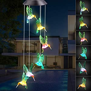 Ninonly Solar Hummingbirds Wind Chime, Color Changing Solar Powered Waterproof LED Windchime Garden Yard Outdoor Light Hummingbird Decor,Ideal Gifts for Mom Grandma Mother Women Birthday Christmas