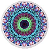 Pixels Round Beach Towel With Tassels featuring ''New Dawn Mandala Art - Sharon Cummings'' by Sharon Cummings