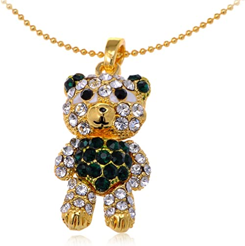 Adorable Teddy Bear Ring Colorful Silver Stainless Steel Pendant Necklace