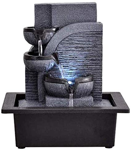 Tabletop Fountains 3 Tier Tabletop Indoor Waterfall Fountains With Led Lights Relaxation Zen Meditation Ambient Soothing Cascading For Office Living Room23 17 5 25 5cm Amazon Co Uk Kitchen Home