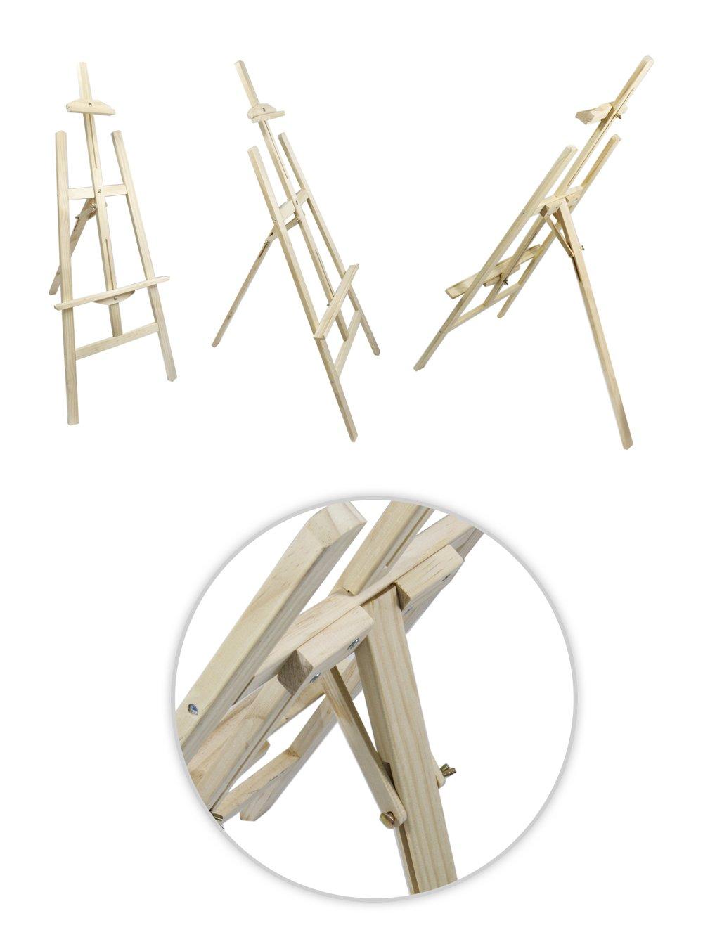 Vetrineinrete® Cavalletto pittorico in legno leggero inclinabile altezza 122 cm per pittura o esposizione di tele quadri e foto arredo casa E50