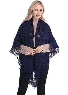 FEOYA - Mujer Ponchos Invierno Otoño Talla Grande Capa de Chal Chaqueta de  Punto con… 90030872e306