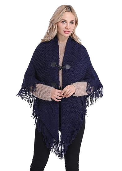 FEOYA Ponchos Mujer Punto Invierno Oto/ño Talla Grande Capa de Chal Calentar con Capucha Flecos Huecos Elegante Casual