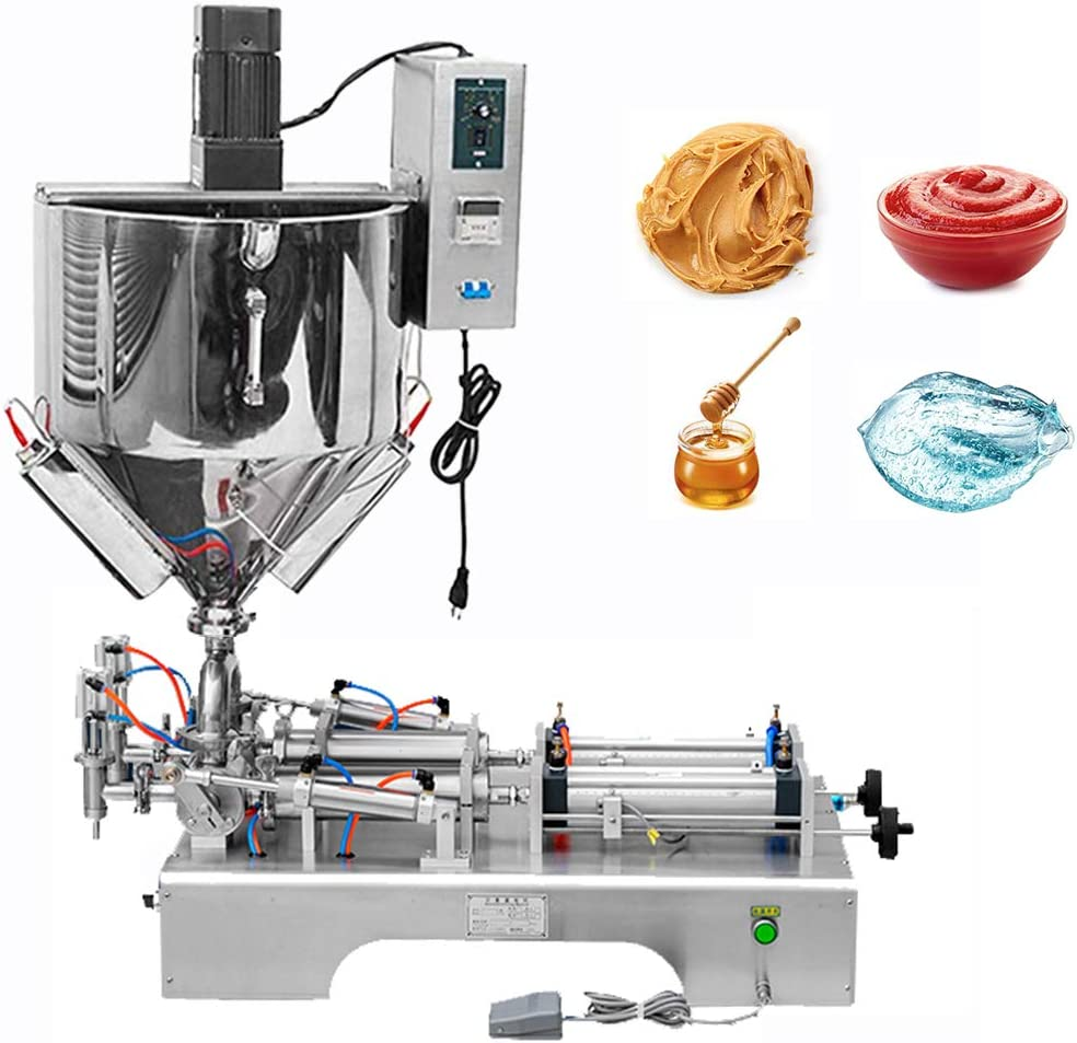 Amazon.com: Hanchen Liquid and Paste Filling Machine with Heater and  Stirrer 100-1000ml Double Nozzle Pneumatic Piston Filler Semi-Automatic  Paste Dispenser for Oil Cream Lotion Honey with CE(100-1000ml): Kitchen &  Dining