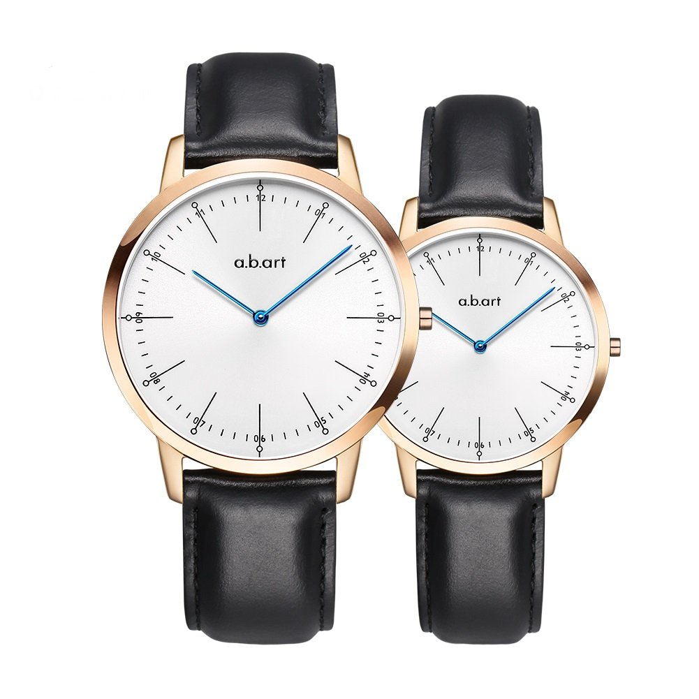 a.b.art His and Hers Wrist Watches Gift FL-BG001-1L Men Women Sapphire Crystal Rose Gold Case Analog Quartz Couple Watches (Rose gold-3)