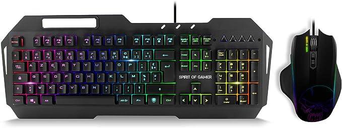 SPIRIT OF GAMER - Teclado + Mouse ELITE MK30 - Keyboard AZERTY ELITE-K30 RGB Soporte para Teléfono Inteligente / Mouse ELITE-M30 3200 DPI 7 Botones