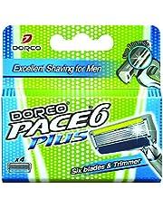 Cartuchos de Repuesto Dorco Pace 6 Plus - Diseño ultrafino de seis cuchillas - Incluye Banda de Lubricacion con Vitamina E - Systema de Acoplamiento Comun
