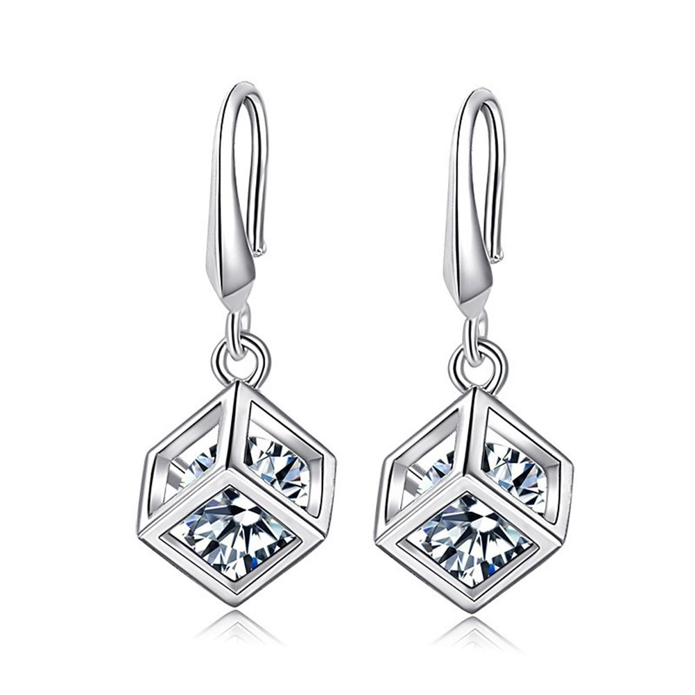 d02eb9707 KOREA-JIAEN S925 Sterling Silver Earring Sets Love Magic Cube Zircon Square  Pendant Earrings LKNSPCE013 ...