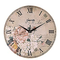 Succper Wall Clock 12 inch Vintage French Country Print Shabby Chic Large Decorative Roman Numerals Analog Battery Operated Silent for Home Decoration