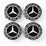 #10: Mercedes Benz Wheel Center Caps - Set of 4 Pcs - New - Best Stylish Finish for Your Light-Alloy Rims – MB Wheels Center Cap - 75mm/3 Inch – Star with Laurel Wreath – Black – MB Hub Caps - Cover Logo