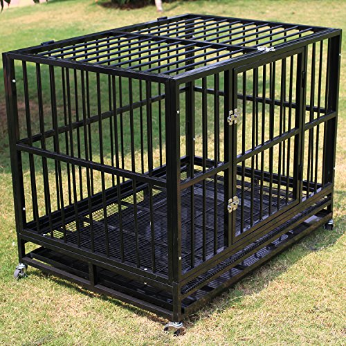 WALCUT 42 Inch Heavy Duty Strong Metal Pet Dog Cage Crate Cannel Playpen w/Wheels (black- 41.7