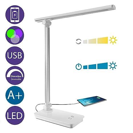 Lámpara Escritorio LED, Lámparas de Mesa USB Regulable Recargable, Plegable Luz, Cuidado Especial Para los Ojos, 5 Modos de Colores x 3 Niveles de ...