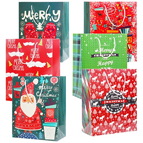 Rumcent Colorful Merry Christmas Theme Gift Paper bag, Beautiful X-Mas Party Cardboard Present Bag, Tote Bag, Medium Size, Winter Holiday Treat Bag, 6 Assorted Pattern, Color- 6 Pack/Set